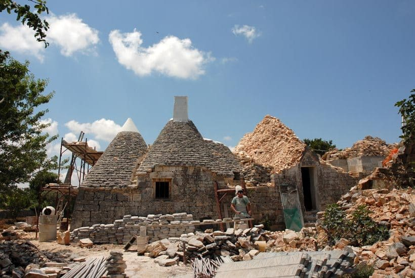 Restoring work in the turnkey trullo property in Cistetrnino, Puglia