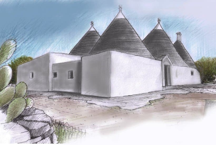 Drawing of restored masseria in Cisternino, Puglia