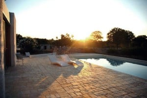 Sunset at the swimming pool