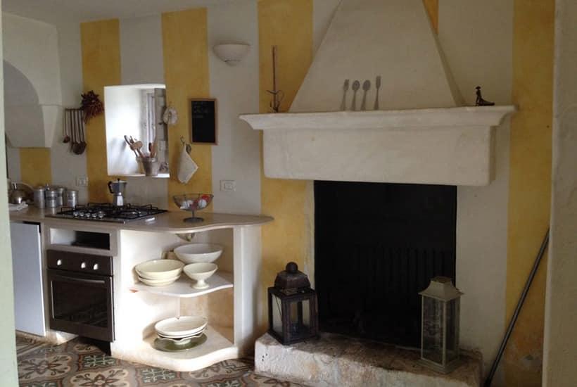 Fireplace in Casa Tirunno, traditional house restored in Puglia