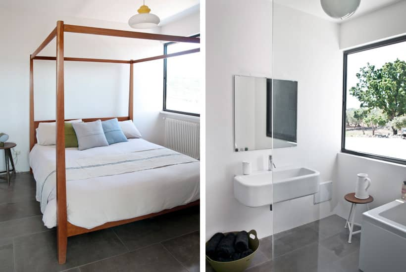 Bedroom and bathroom in Casa Cireali, new build holiday house in Puglia