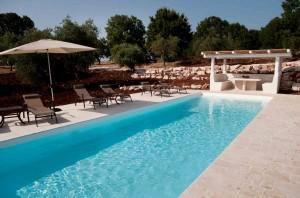 The swimming pool in the restored trullo Fantese in Puglia