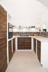 A kitchen in a restored trullo in Puglia
